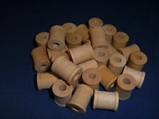 """25 Natural Wood Spools 3/4"""" with 1/4"""" Hole Parrot Bird Toy Part Craft New"""