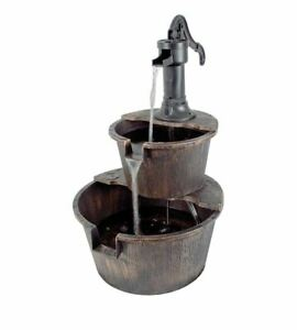 New 2 Tier Garden Barrel Pump Fountain Water Feature Cascade Outdoor Patio