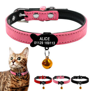 Soft Suede Leather Personalized Cat Kitten Dog Pet Puppy Collars Engraved + Bell
