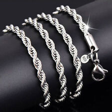 """925 Silver New Jewelry Accessories Necklace Choker Twisted Rope Chain 20"""" 2mm"""