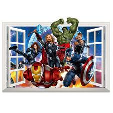 3D Crack Wall The Avengers Marvel Hulk Wall Stickers Room Decor Mural Decals Art