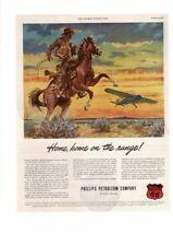 VINTAGE 1946 PHILLIPS PETROLEUM COWBOY HORSE AIRPLANE RANGE OKLAHOMA AD PRINT
