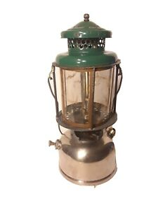 Coleman L220 Slant Gen Double Mantle Lantern W/ Mica Globe Dated 8 11 1928 nice