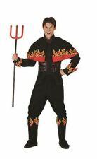Adult Men Black Flaming Devil Costume Flames Horror Halloween Party Fancy Dress