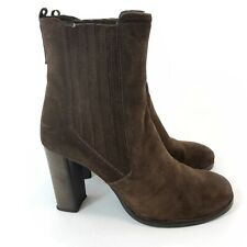 Geox Size 39 UK6 Brown Leather Suede Ankle Pull On Chelsea Heeled Booties Boots