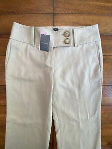 $99 ANN TAYLOR Lindsay Beige Khaki Straight Leg Career Work Pants Sz 6 P Petite