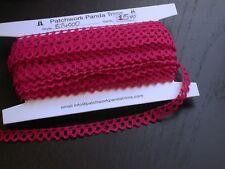 "Crochet Cluny Lace Edging 100% Cotton 7/16"" (11mm) Fuchsia 15 yards"