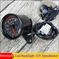 12V Retro Motorcycles Odometer Speedometer Gauge KM/H MPH With Indicator Light