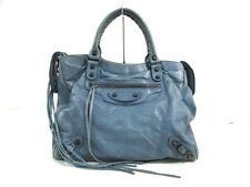 Auth BALENCIAGA Velo 235216 Light Blue Leather Handbag w/Dust Bag/Strap/Mirror