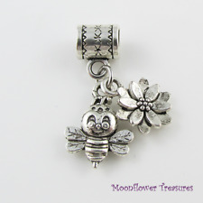 Tibetan Silver Bumblebee & Flower Charm fit European Bracelet