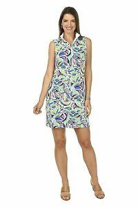 NWT Ladies IBKUL JACKIE Multicolor Sleeveless Mock Golf Tennis Dress XS S & XL