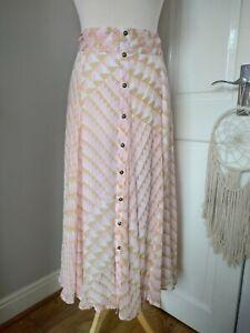 HUSH Averil Midi Maxi Pink Geo Print Button Skirt UK 12 RRP £85