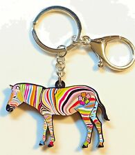 Zebra Acrylic Key Ring Multicolor Stripes Keychain Jewelry