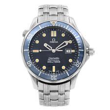 Omega Seamaster 41MM Acero Cuarzo Esfera Azul Reloj para hombre 2541.80.00