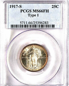 1917-S 25C Type 1 MS66FH PCGS-JUST 20 IN HIGHER GRADE-RARE- STANDING LIBERTY
