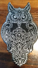XL-Patch Eule Vogel Uhu silber schwarz Pailletten Bügelbild Flicken Aufbügeln