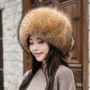 Women's Whole Pelt Real Fox Full Fur Russian Shapka Cossack Ushanka Ski Snow Hat