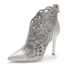 Womens Rhinestone Hollow Out Pointed Toe Ankle Boots Zipper High Heels Shoes Sz