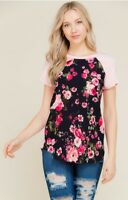 NWT Medium Women's Floral Raglan Baseball Tee Boutique Blouse Usa