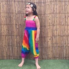 Children's Rainbow Harem Jumpsuit girls kids baggy summer hippy hippie boho