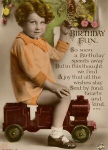 Antique Birthday greetings Card RPPC embossed girl with toy steam train #49