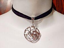 TARGARYEN Game of Thrones Black silver velvet choker necklace Daenerys dragon W5