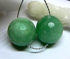2 RARE NATURAL RUSSIAN GREEN AMAZONITE FACETED ROUNd BEADS 20mm 103cts  PAIR