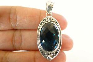 London Blue Topaz Ornate 925 Sterling Silver Pendant