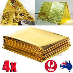 4x Space Blankets PREMIUM Thermal Emergency Survival Camping Rescue First Aid OZ