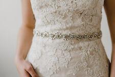 Grace Silver Rhinestone Flower Diamante Bridal Sash Wedding Dress Belt