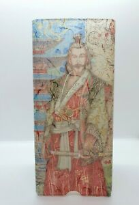Frosted Glass Samurai Table Lamp without Base Handmade Gift Decoupage Home Decor