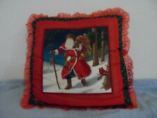 16 INCH CHRISTMAS PILLOW WITH RED LACE EDGES