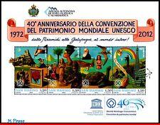 12-4 SAN MARINO 2012 UNESCO, 40th ANNIV., TURTLE, SCULTURE, ARCHAEOLOGY, S/S MNH