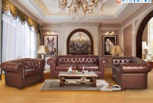Chesterfield Couch Sofa 2+1 Sitzer Leder Couch Sitz Garnitur Sofa Garnituren 2+1