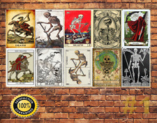 Job Lot 10 x METAL TIN SIGN WALL PLAQUE DEATH TAROT CARDS VINTAGE COLLECTION #1
