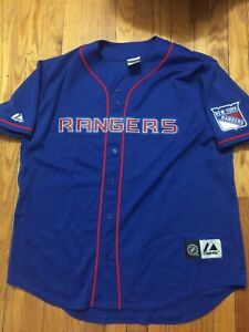 Mens Majestic NEW YORK RANGERS Full Button Down Baseball Jersey Blue XL NHL