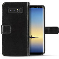 Genuine Leather Wallet Case For Samsung Galaxy Note 8 License Slot Flip Cover