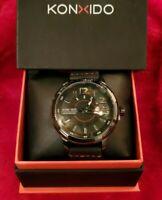 KONXIDO Mens Analog Quartz Watch Black Leather Band w/ Date Model GK-KX-6371-BK