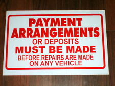 Auto Repair Shop Sign: Payment Arrangements