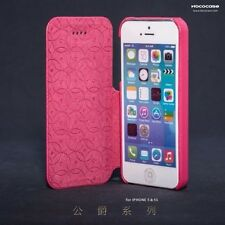 GENUINE LEATHER FLIP Case For Iphone 5,5S,RED ROSE COL, Best Christmas Gift .