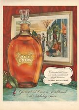 1954 Old Crow Bourbon Whisky Vintage Decanter Bottle PRINT AD