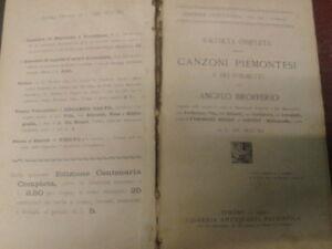 RACCOLTA COMPLETA DELLE CANZONI PIEMONTESI E DEI POEMETTI-1902-L.A.Patristica