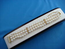 STRIKING 3 ROW PEARL BRACELET 14K GOLD LOCK 7 INCHES 18 MM WIDE