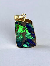 SPECTACULAR STRONG BLUE GREEN SOLID BOULDER OPAL PENDANT 18CT GOLD VAL $7,890