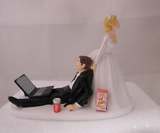 Wedding Reception Can of Cola Popcorn Laptop Computer Geek Nerd Cake Topper