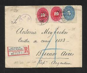 MEXICO TO ARGENTINA REGISTERED COVER 1894