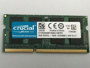 Crucial 8GB 2Rx8 PC3L-12800S DDR3L-1600Mhz SODIMM Laptop Memory RAM 1.35V 204Pin