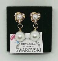 Orecchini Pendenti Donna Oro Giallo Perle E Cristalli Swarovski Veri