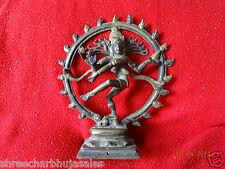 Vintage Solid Brass Hindu Tribal Dancing God Shiva Natraj Statue Figurine #07