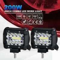 2Pcs Universal Flush Mount Work Light Pods 4in CREE LED SUV Bumper Reverse Lamps